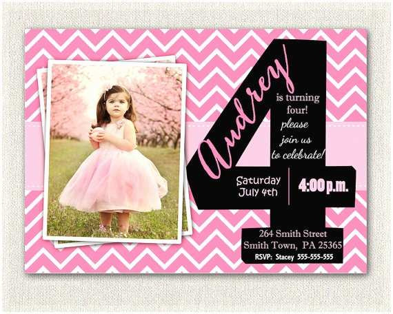 4th Birthday Invitation Wording Girls Invitations Printable Fourth