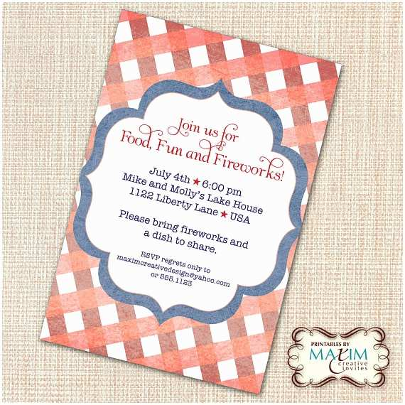 4th Birthday Invitation Wording Items Similar to Diy Printable Invitation 4th Of July