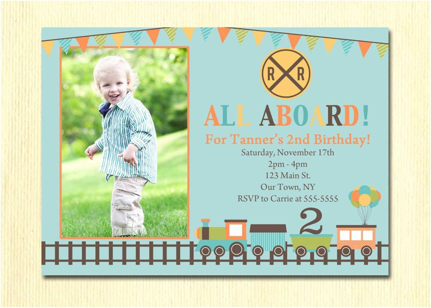 4th Birthday Invitation Wording Train Boys 1st 2nd 3rd