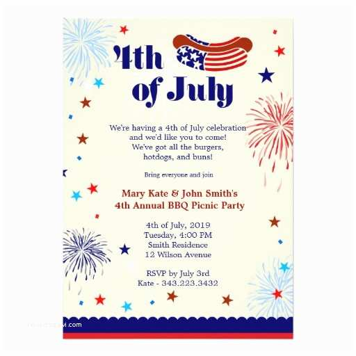 4th Of July Party Invitations 4th Of July Bbq Picnic Invitation Party