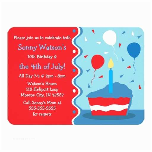 4th Of July Party Invitations Birthday