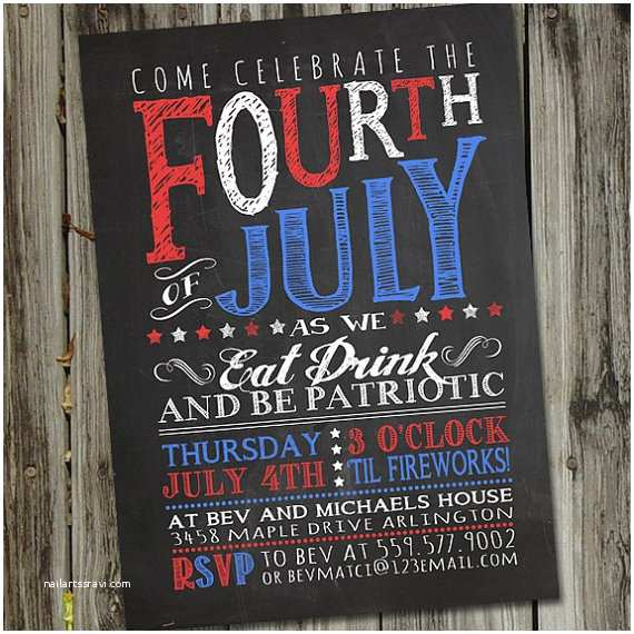 4th Of July Party Invitations Chalkboard Fourth Of July Invitation 4th Of July Invitation