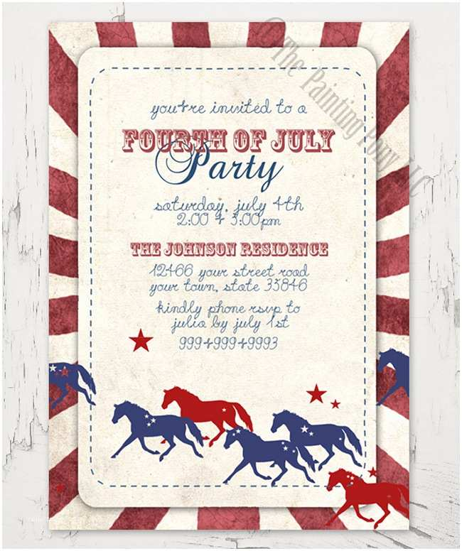 4th Of July Party Invitations Equestrian Party Invitations for Spring