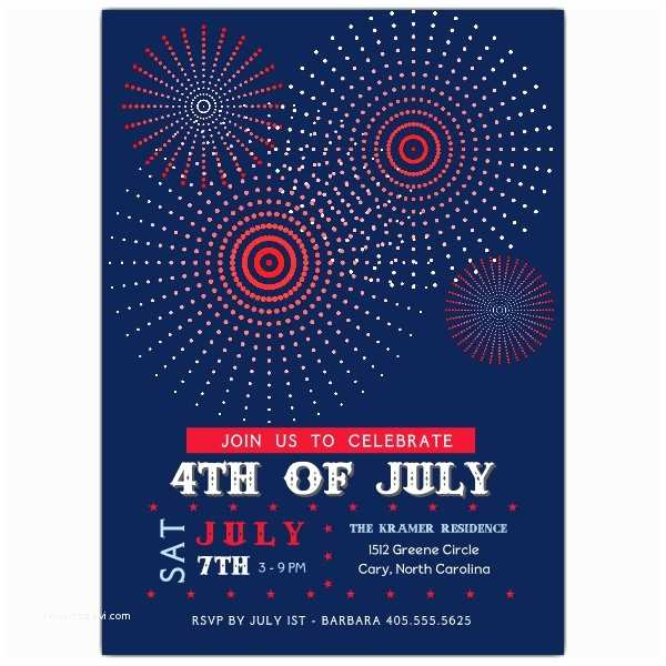 4th Of July Party Invitations Fire Works Fourth Of July Party Invitations