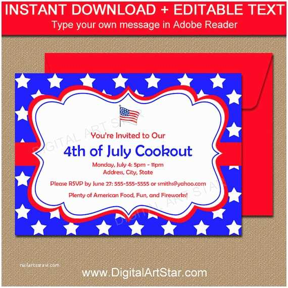 4th Of July Party Invitations Fourth