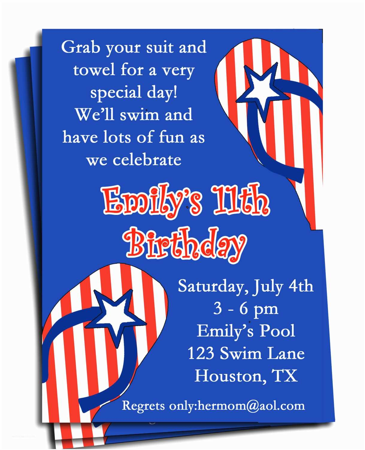 4th Of July Party Invitations Fourth Of July Pool Party Invitation Printable or Printed with