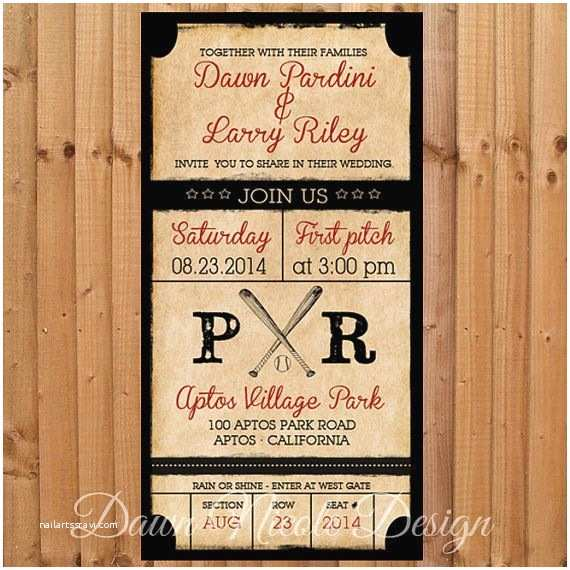 4x8 Wedding Invitations Digital 4x8 Vintage Baseball themed Invitation by