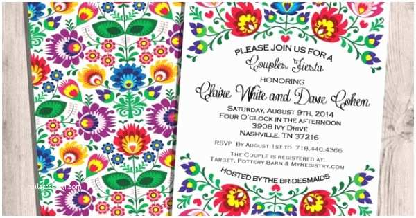4x8 Wedding Invitations Fiesta Couples Shower Invitation 5x7 4x8 or 6x9 Bridal