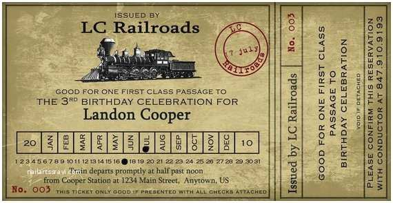 4x8 Wedding Invitations Items Similar to Vintage Train Ticket Party Invitation