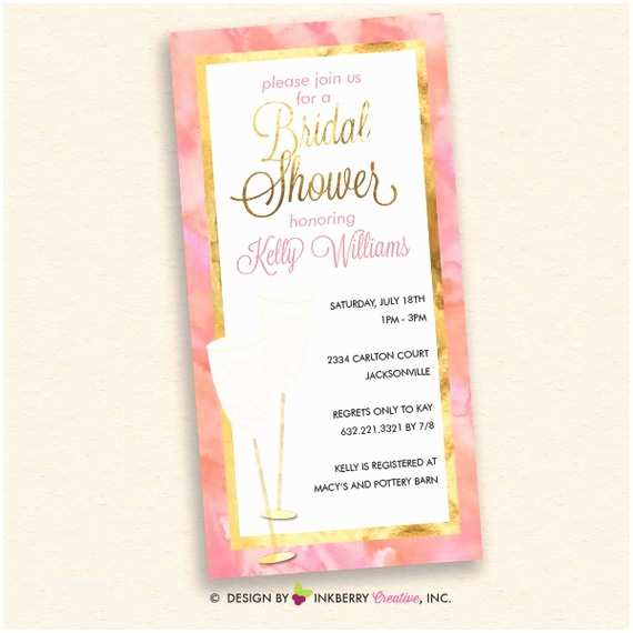 4x8 Wedding Invitations Pink Champagne Pink and Gold Bridal Shower Invitation 4x8