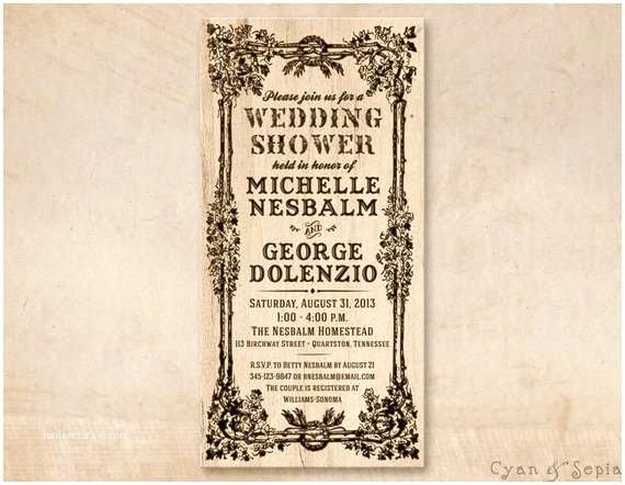4x8 Wedding Invitations Printable Bridal Wedding Shower Invitation Card 4x8