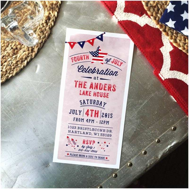 4x8 Wedding Invitations Rustic 4th Of July Patriotic American Celebration Bbq