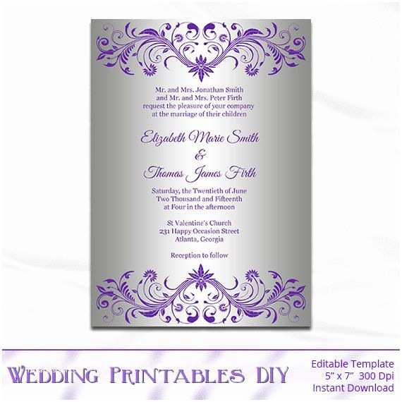 4x8 Wedding Invitations Silver Foil Wedding Invitation Template Diy Purple and