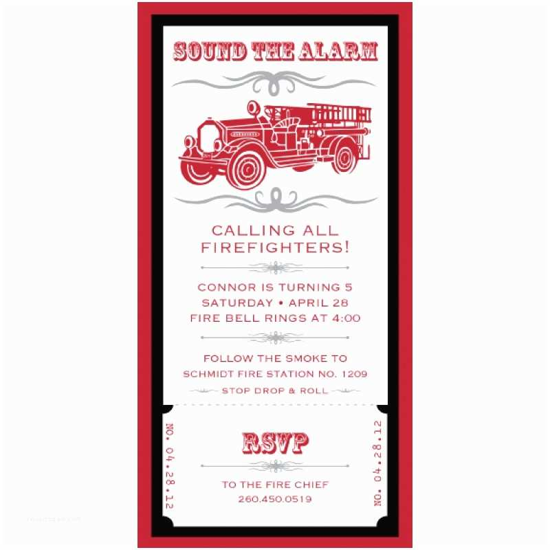 4x8 Wedding Invitations Vintage Firetruck Birthday Party Printable 4x8 Invitation