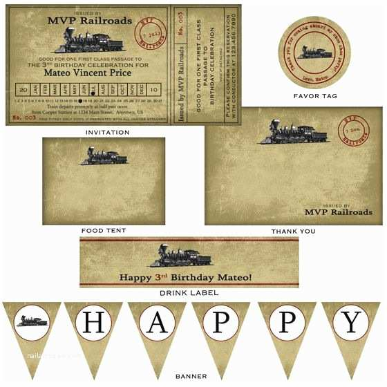 4x8 Wedding Invitations Vintage Train Ticket Party Invitation 4x8 $15 00 Via