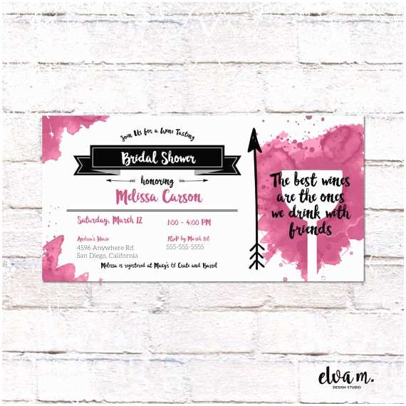 4x8 Wedding Invitations Wine Tasting Bridal Shower Invitation 4x8 Invite Custom