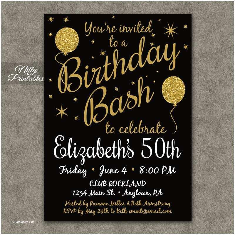 50th Anniversary Party Invitations 50th Birthday Invitation Printable 50 Black Gold Glitter