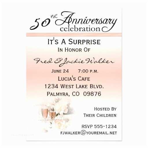 "50th Anniversary Party Invitations Surprise 50th Anniversary Party Invitations 5"" X 7"