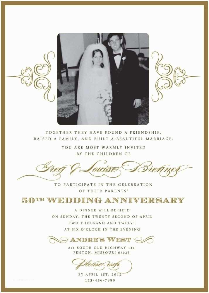 50th Anniversary Party Invitations Wedding Invitations for A 50th Wedding Anniversary
