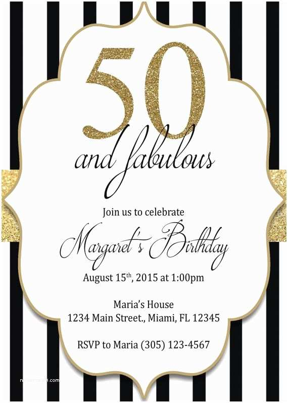50th Birthday Invitation Gold Black And By