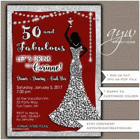 50th Birthday Invitation Party Invitations Woman Bling Dress Fifty