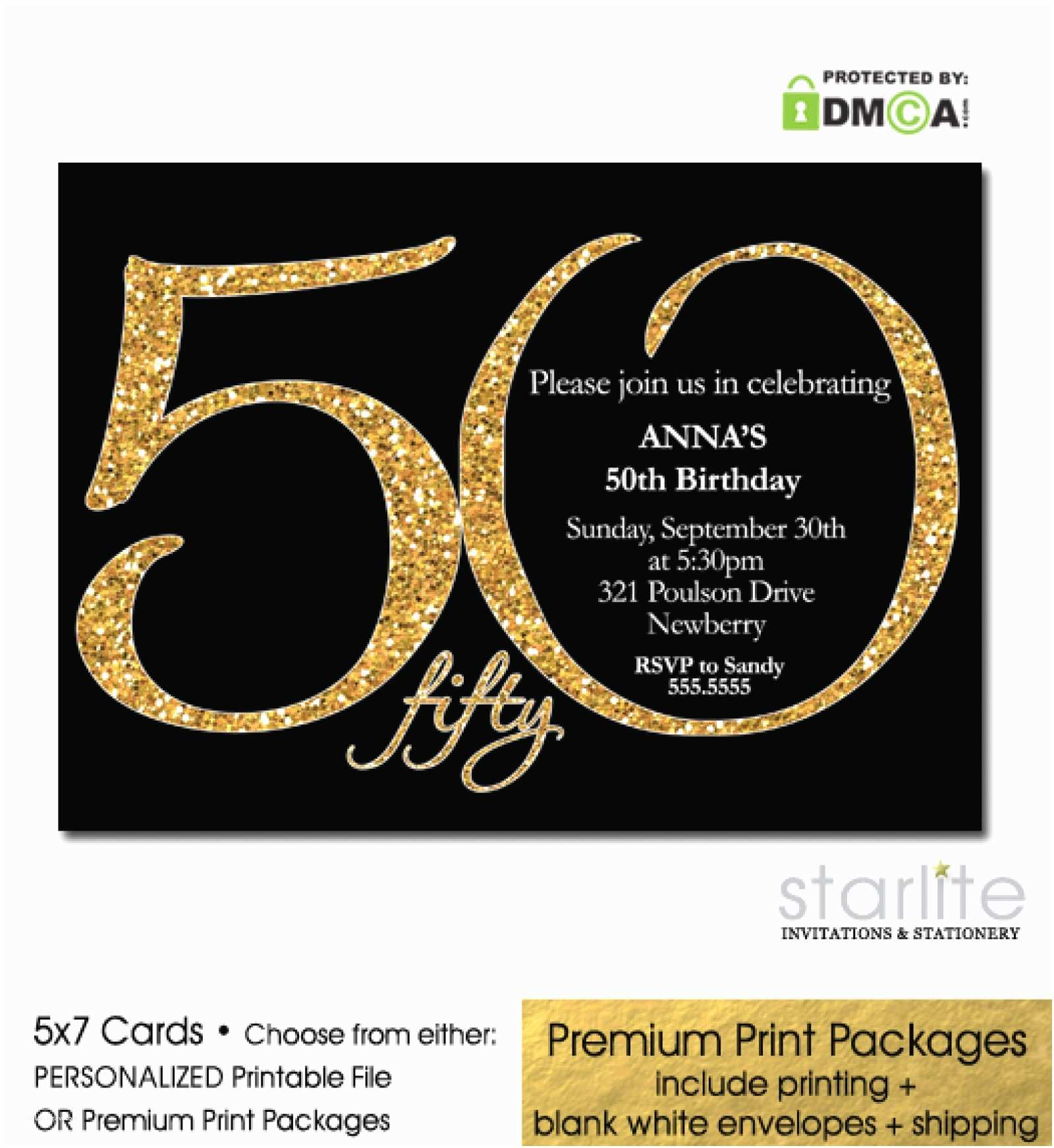 50th Birthday Invitation Black Gold Glitter 50th Birthday Invitation Modern