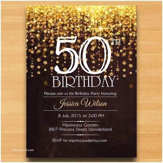 50th Birthday Invitation Elegant Birthday Invitation Birthday From Miprincess On Etsy