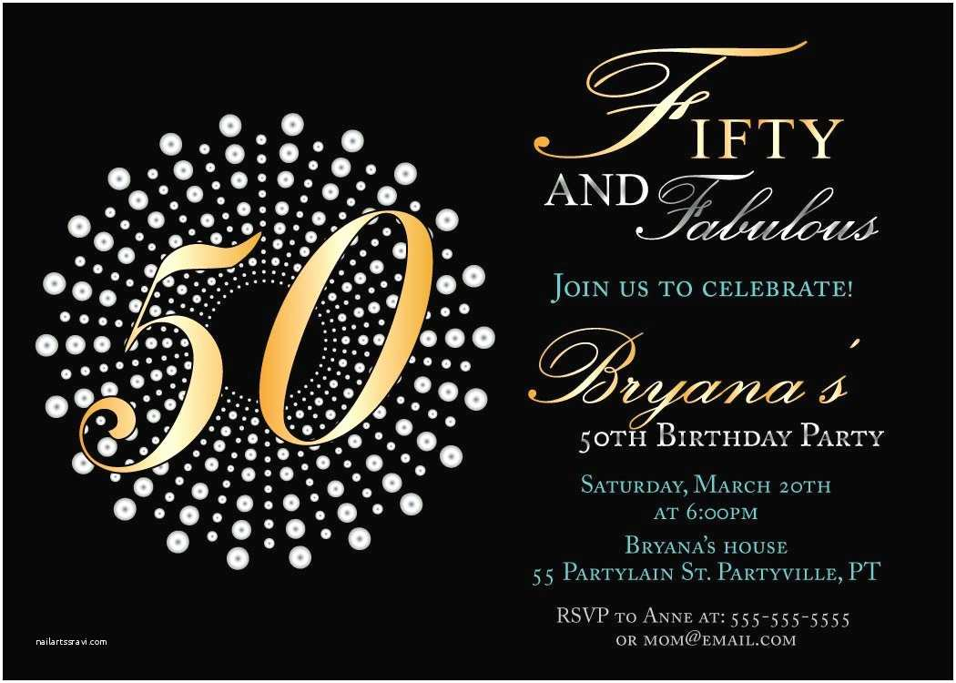 50th Birthday Invitation Fifty and Fabulous Birthday Invitations 50th Birthday Party