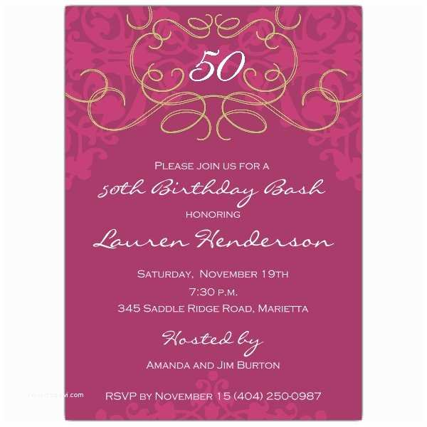 50th Birthday Invitation Wording 50th Birthday Fleur Plum Invitations