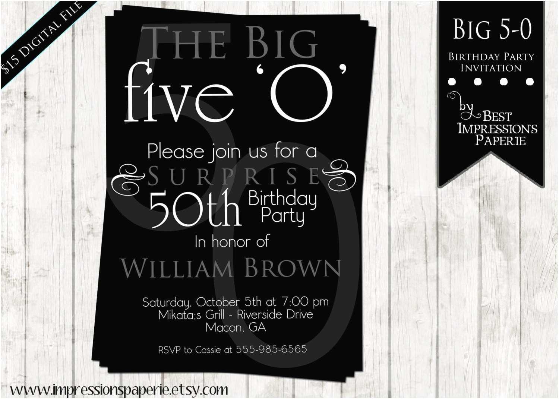 50th Birthday Invitation Wording 50th Birthday Party Invitations for Men