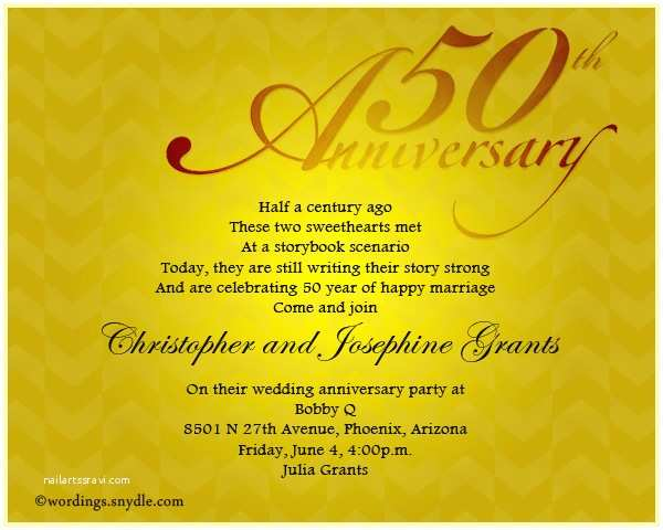 50th Birthday Invitation Wording Wedding Anniversary Announcement Mini Bridal