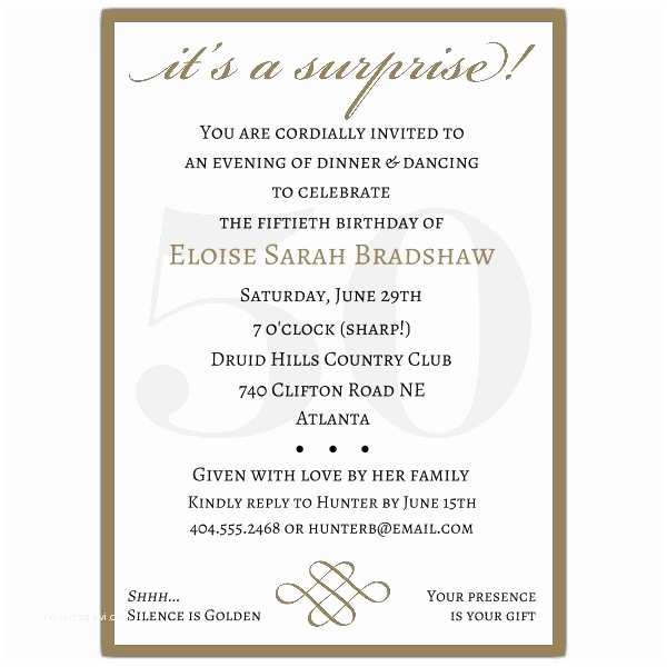 50th Birthday Invitation Wording Classic 50th Birthday Gold Surprise Party Invitations