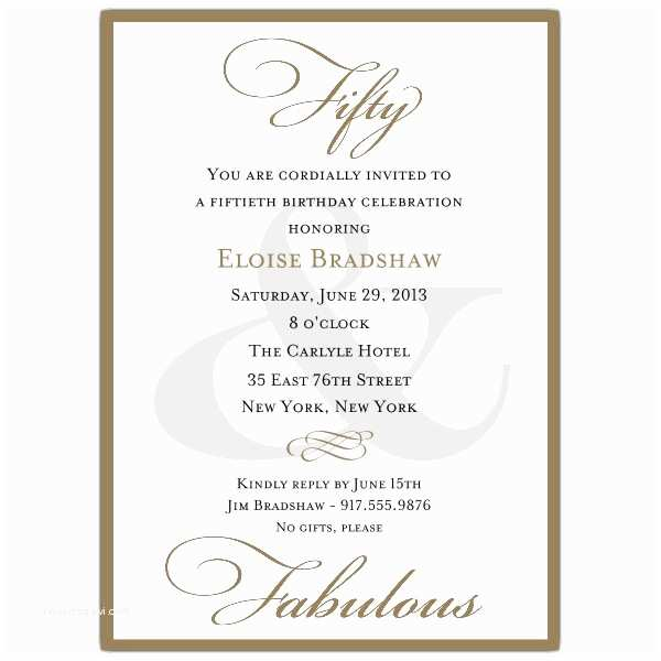 50th Birthday Invitation Wording Classic 50th Birthday Milestone Invitations