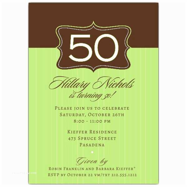 50th Birthday Invitation Wording Emblem Green 50th Birthday Invitations