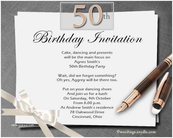 50th Birthday Invitation Wording formal Birthday Invitation Wording