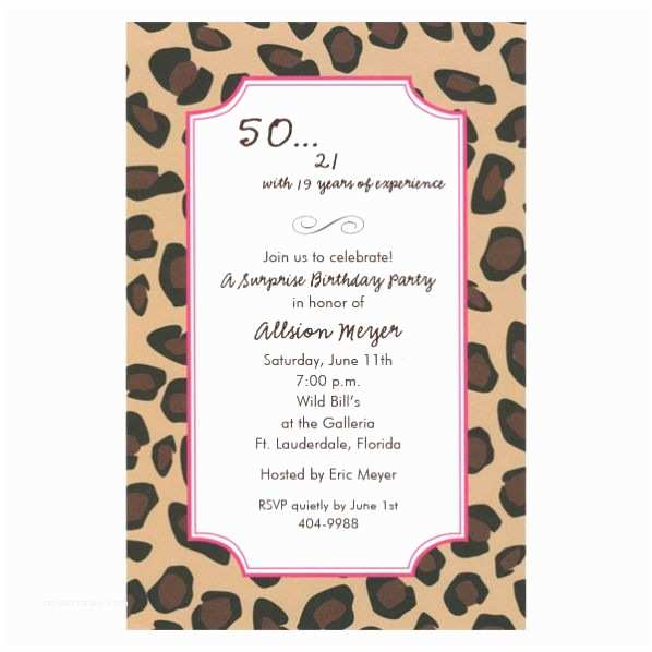 50th Birthday Invitation Wording Leopard Pink 50th Birthday Invitations