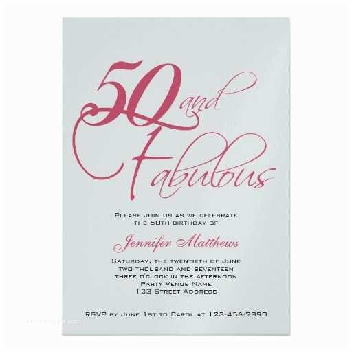 "50th Birthday Invitation Wording Pink Black Silver 50th Birthday Invitations 5"" X 7"