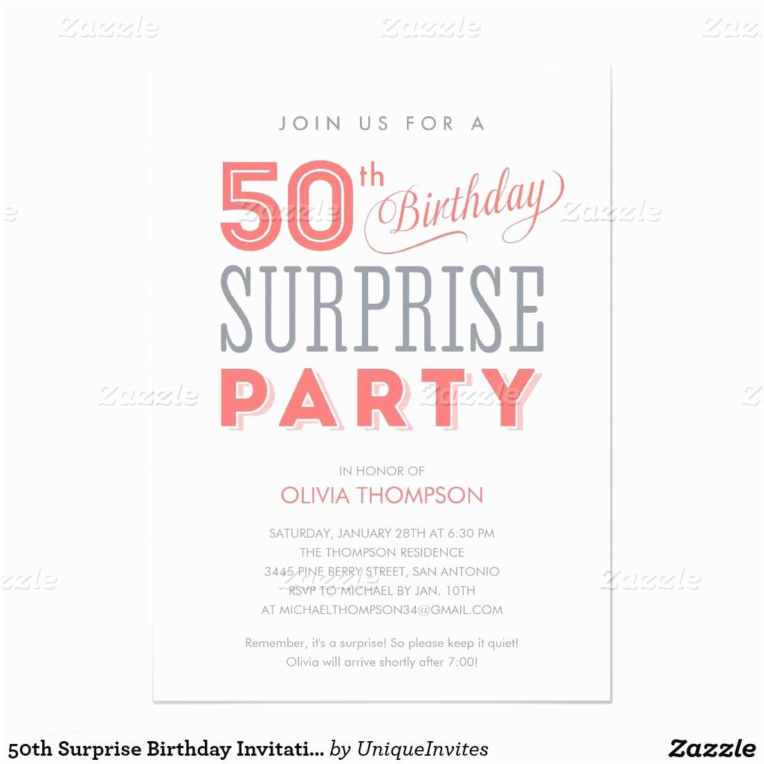 50th Birthday Invitation Wording Surprise 50th Birthday Party Invitation Wording