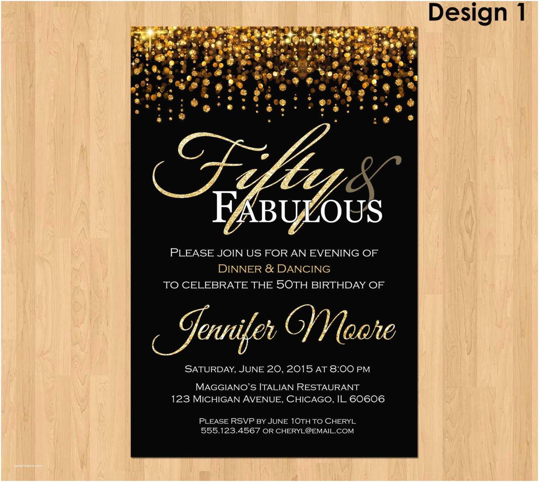 50th Birthday Invitations 50th Birthday Invitation for Women 50 and Fabulous