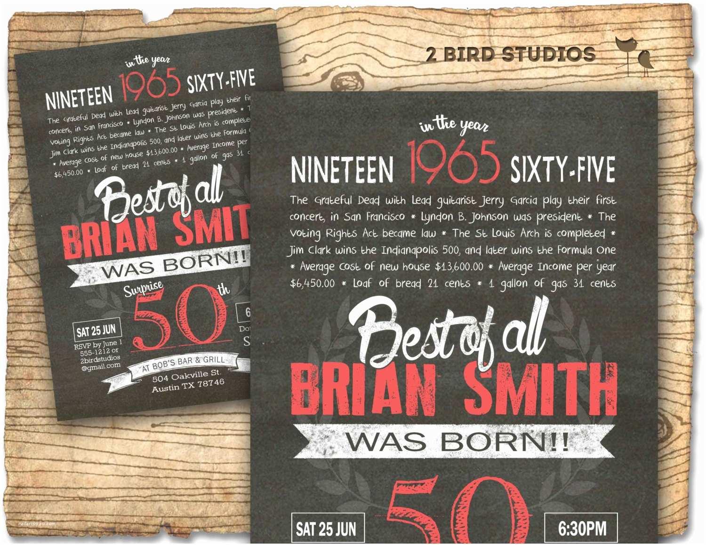 50th Birthday Invitations 50th Birthday Invitation Surprise 50th Birthday by