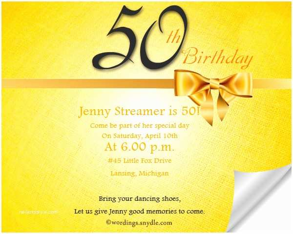 50th Birthday Invitations Invitation Wording Samples Wordings And