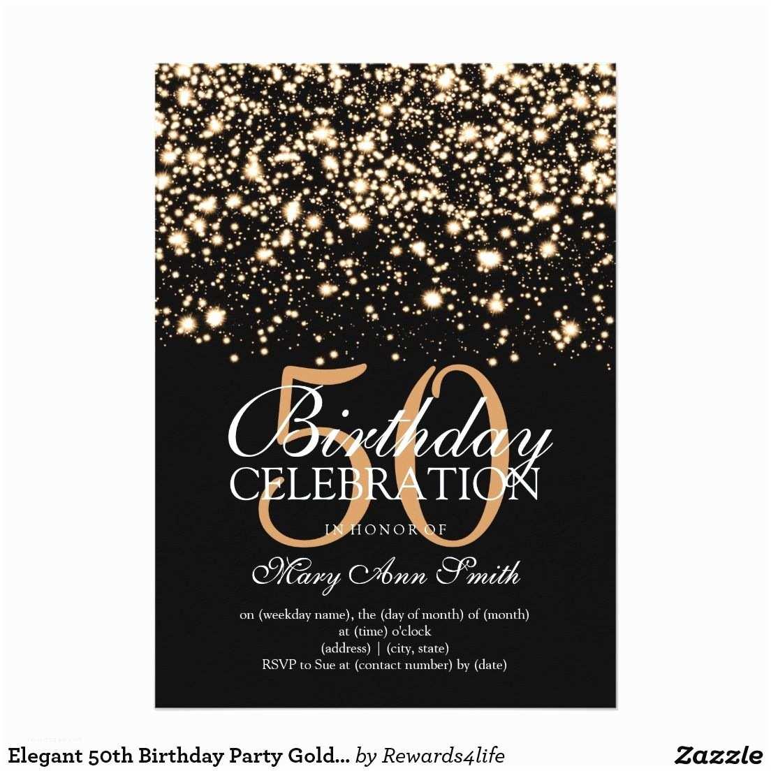 50th Birthday Invitations Elegant 50th Birthday Party Gold Midnight Glam 5x7 Paper