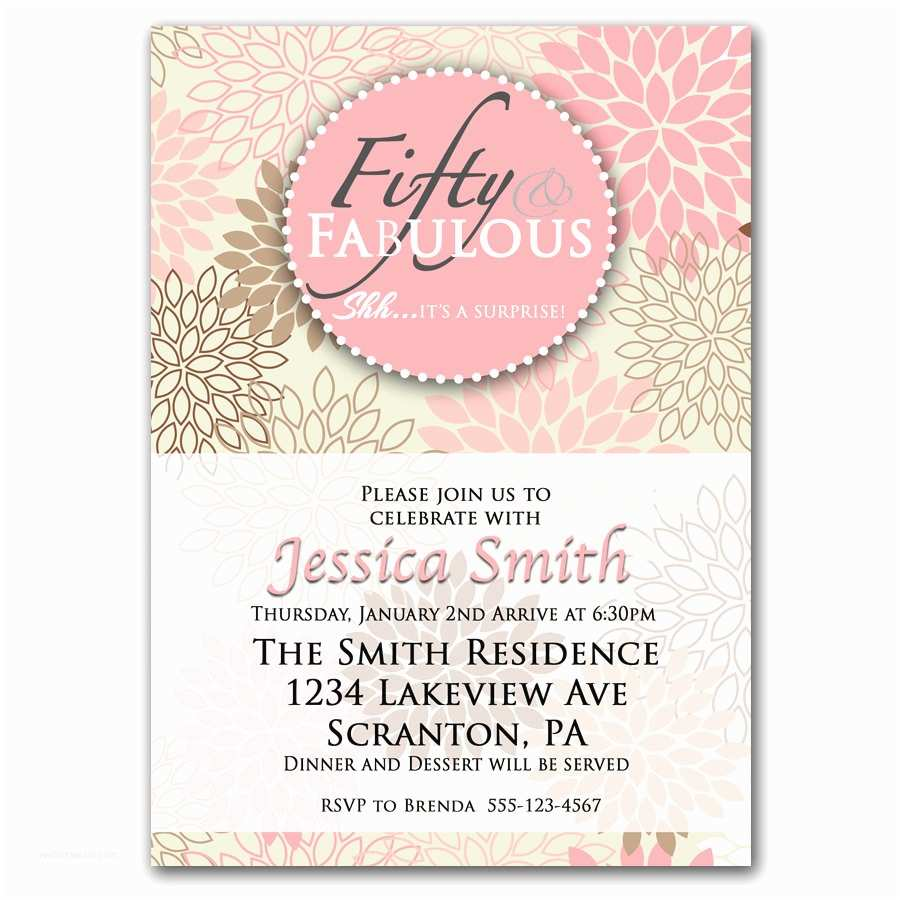 50th Birthday Invitations Fifty and Fabulous Pink 50th Birthday Invitation by
