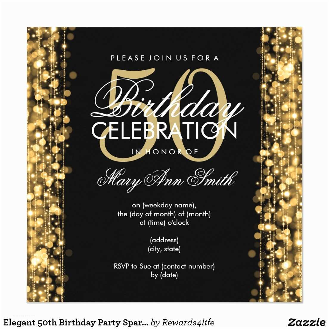 50th Birthday Invitations for Her 50th Birthday Party Invitations