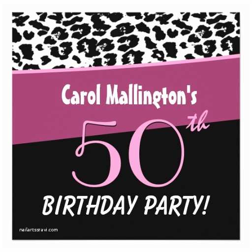50th Birthday Invitations for Her 50th Birthday Party Modern Leopard for Her W255 Invitation