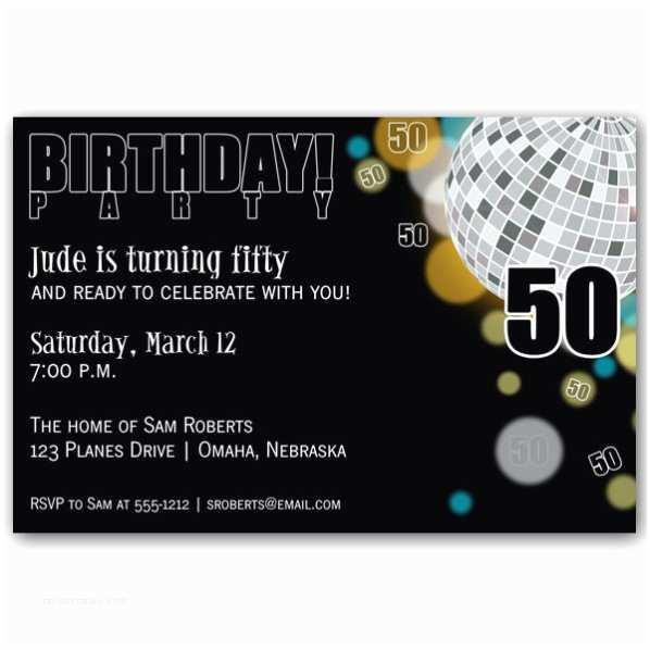 50th Birthday Invitations for Her Disco Black 50th Birthday Invitations