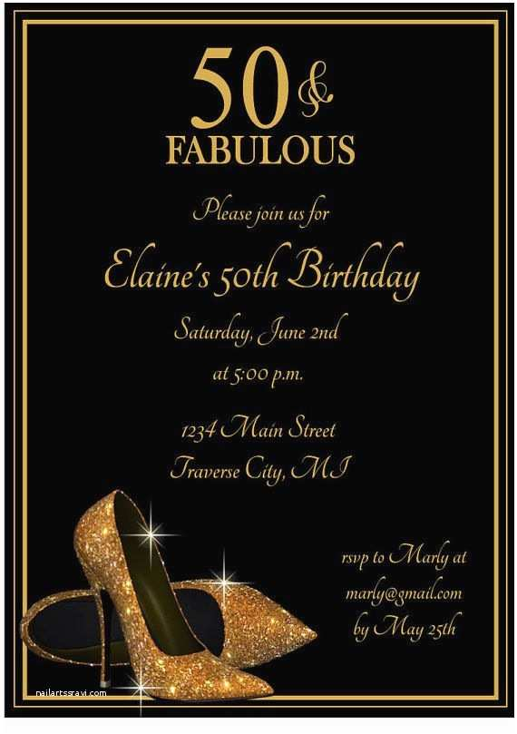 50th Birthday Invitations for Her Gold Glitter Shoes Adult Birthday Party Invitation