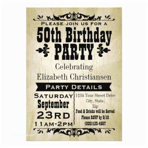 50th Birthday Invitations for Her Rustic Vintage 50th Birthday Party Invitation