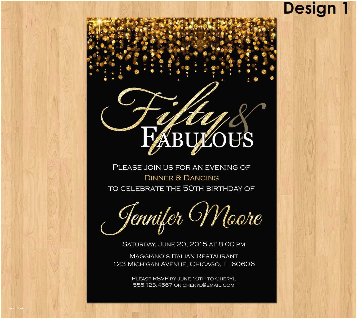 50th Birthday Invitations for Him 50th Birthday Invitation for Women 50 and Fabulous