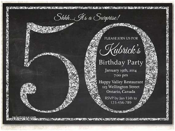 50th Birthday Invitations For Him Invitation Silver Glitter By Arthomer